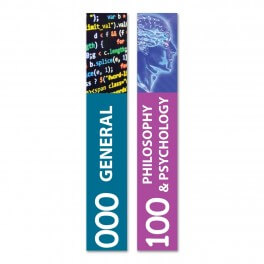 Slim Non Fiction Sticky Back Signs with Subjects Design 4 (colour coded)